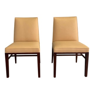 Vintage Mid Century Edward Wormley for Dunbar Leather Slipper Side Chairs- A Pair For Sale