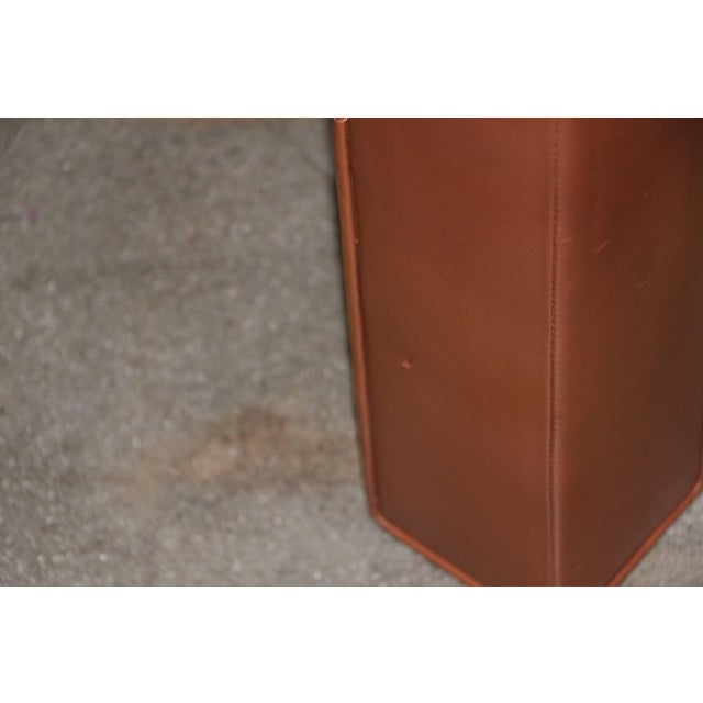 Leather Wrapped Coffee Table With Glass Insert For Sale In Palm Springs - Image 6 of 10