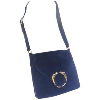 Gucci Rare Midnight Blue Equine Emblem Shoulder Bag C1970s For Sale
