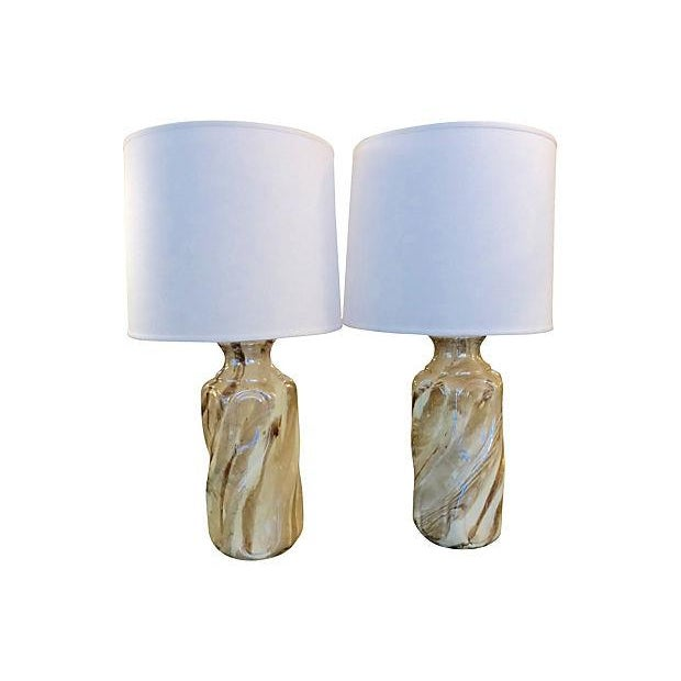 Ceramic Faux Marble Table Lamps - A Pair - Image 5 of 5