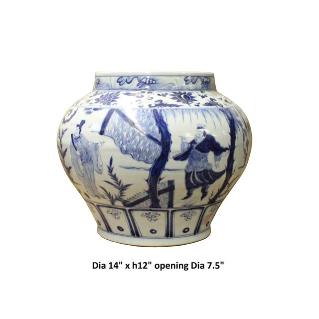 Chinese Blue White Porcelain People Scenery Fat Body Vase Jar - Image 6 of 7