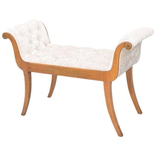 Inlaid Satinwood Rolled Arm Bench For Sale