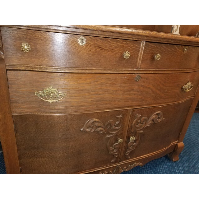 Wood Antique Oak Sideboard Buffet With Mirror For Sale - Image 7 of 13