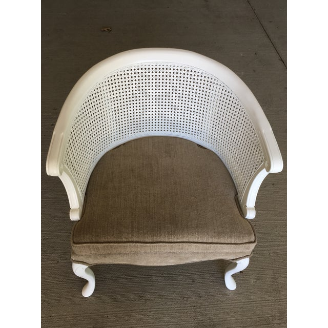 Fabric French Country Barrel Back Caned Chairs – Pair For Sale - Image 7 of 9