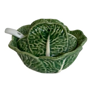 Bordallo Pinheiro Green Cabbage Lidded Bowl with Ladle Made in Portugal For Sale