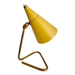 1950s Vintage Giuseppe Ostuni Yellow Cone Table Lamp For Sale