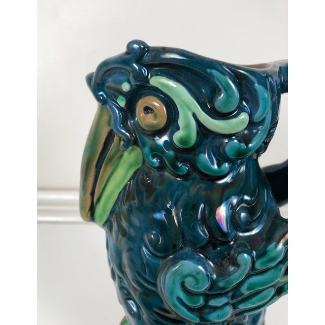 Ceramic Longpark English Art Pottery Bird Pitcher For Sale - Image 7 of 13
