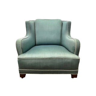 Danish Modern Upholstered Wool Aquamarine Blue Lounge Chair For Sale