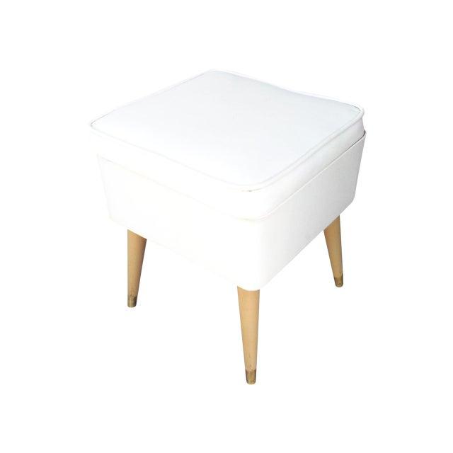 Mid-Century Modern White Leatherette Storage Stool - Image 1 of 7