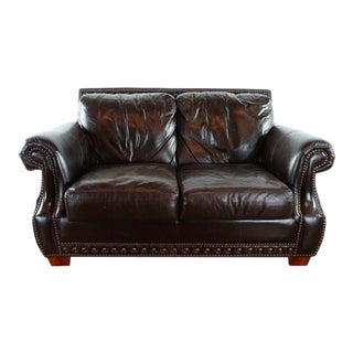 Traditional Leather Upholstered Two Cushion Loveseat For Sale