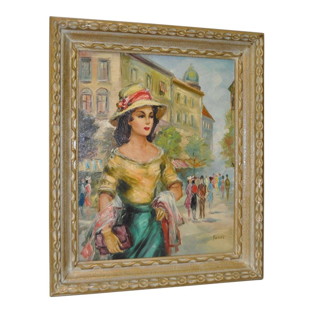 American Woman in Europe Oil Painting c.1950s For Sale