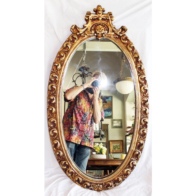 Gesso Oval Baroque Gilt Gold Mirror For Sale - Image 7 of 7