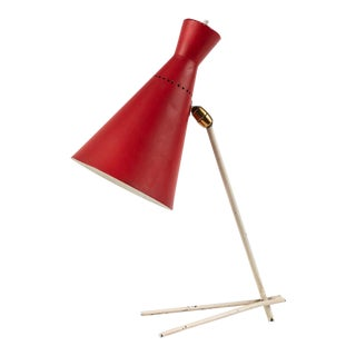 1950s Stilux Milano Red and White Table Lamp For Sale
