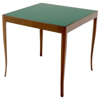 Walnut Base Green Laminate Top Square Game Table For Sale