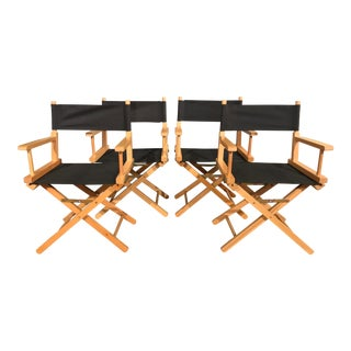 Modern Collapsible Directors Dining Chairs- Set of 4 For Sale