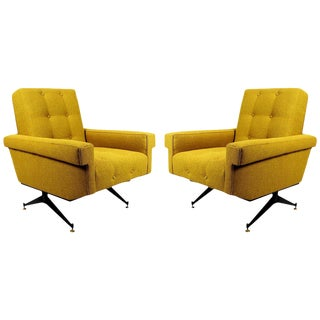 1960s Pair of Padded Armchairs, Yellow Upholstery, Steel, Brass - Italy For Sale