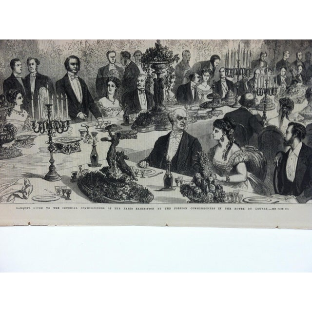 """English 1867 Antique """"Banquet Given to the Imperial Commissioners of the Paris Exhibition"""" The Illustrated London News Print For Sale - Image 3 of 5"""