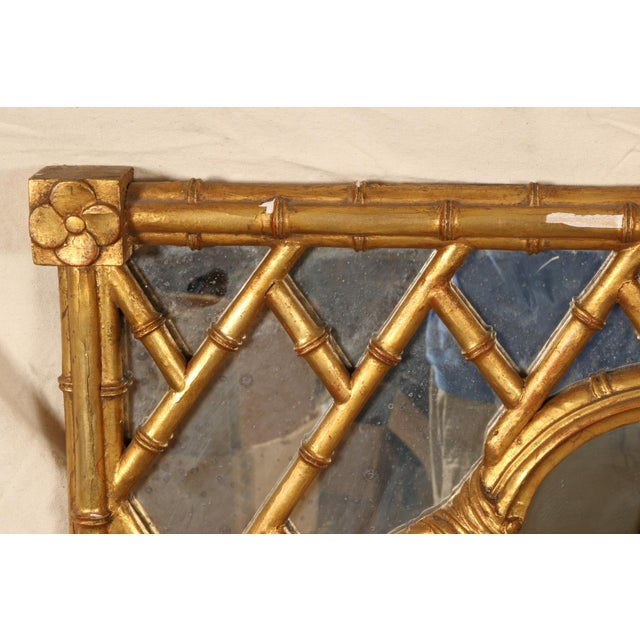 Hollywood Regency Faux Bamboo Carved and Gilt Mirror For Sale - Image 3 of 7