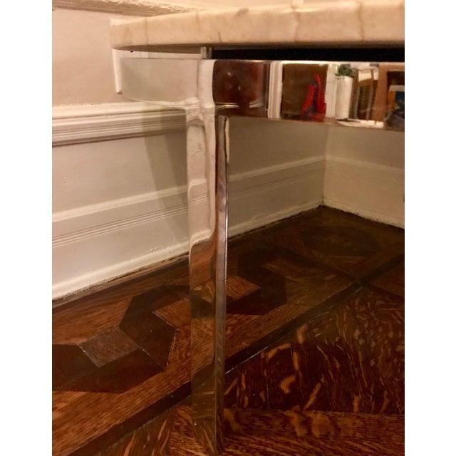 Mid-Century Milo Baughman Style Marble & Chrome Coffee Table - Image 4 of 7