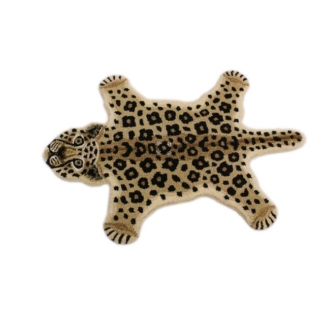 2000 - 2009 Contemporary Decorate Leopard Design Handcuffed Area Rug- 2′ × 3′ For Sale - Image 5 of 10