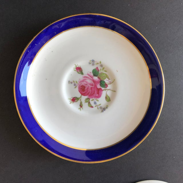 Vintage Elegant Set of 7 Tea or coffee cups and saucers with beautiful rose design, blue, white and pink, perfect for tea...