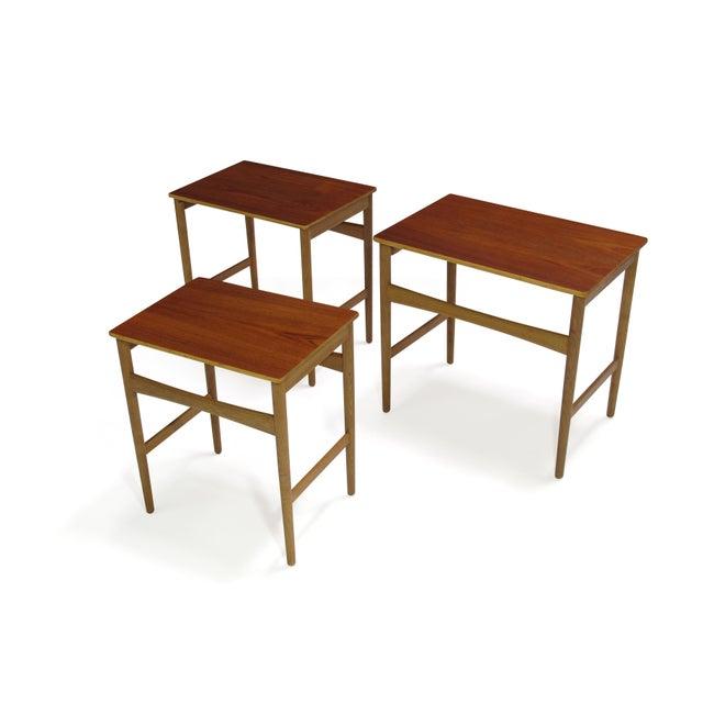 Pink Hans Wegner Teak and Oak Danish Nesting Side Tables - Set of 3 For Sale - Image 8 of 11