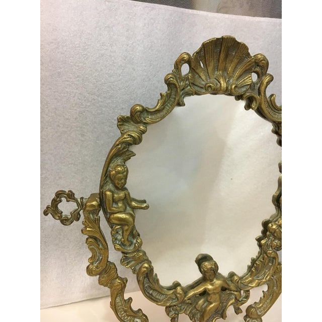 Vintage 1930's Brass Table Top Mirror - Image 5 of 11