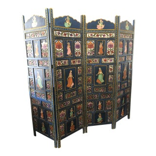 Vintage Indian Carved Painted Wood 4-Panel Dressing Screen For Sale