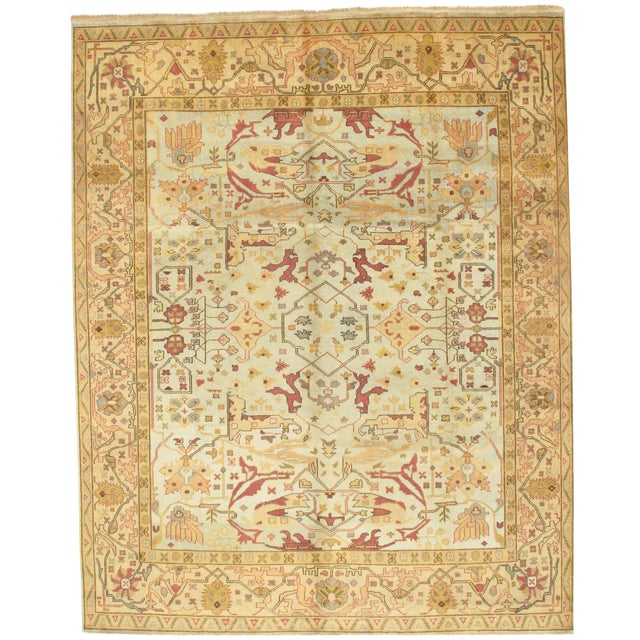 Pasargad Ny Oushak Design Hand-Knotted Rug - 9′ × 11′4″ For Sale