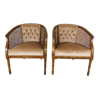 Vintage Barrel Back Regency Style Faux Bamboo Arm Chairs - a Pair For Sale