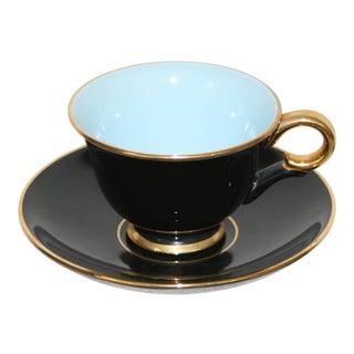 Stavangerflint Norway Mid Century Porcelain Black Sky Blue Gold Trimmed Foot Teacup & Saucer For Sale