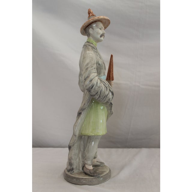 Light Gray Chinese Ceramic Male Figurine For Sale - Image 8 of 12