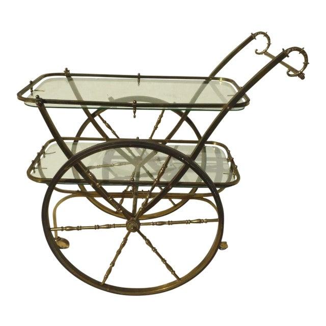 Mid-Century Hollywood Regency Brass Bar Cart For Sale