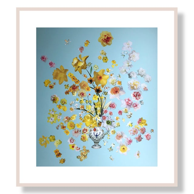 """Paper Marcy Cook """"Vase of Daffodils"""" Original Fine Art Collage For Sale - Image 7 of 7"""