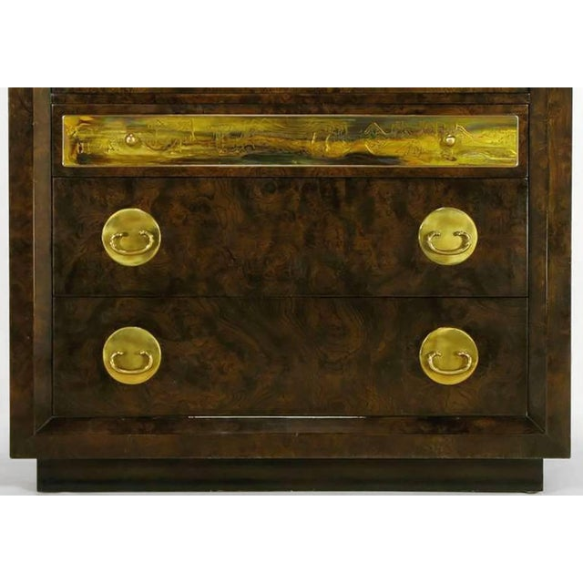 1970s Mastercraft Burl and Acid Etched Brass Wardrobe Cabinet For Sale - Image 5 of 9