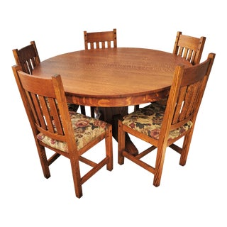Antique Arts & Crafts Mission Round Oak Dining Set - 6 Pieces For Sale