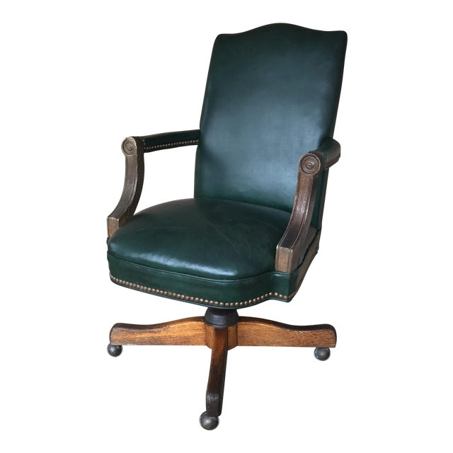 Vintage Green Leather Office Chair