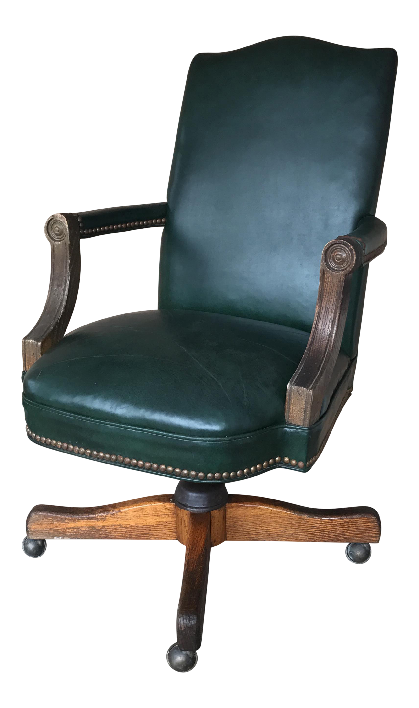 Vintage Green Leather Office Chair For Sale
