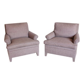 Custom Made Upholstered Lounge Chairs - A Pair For Sale