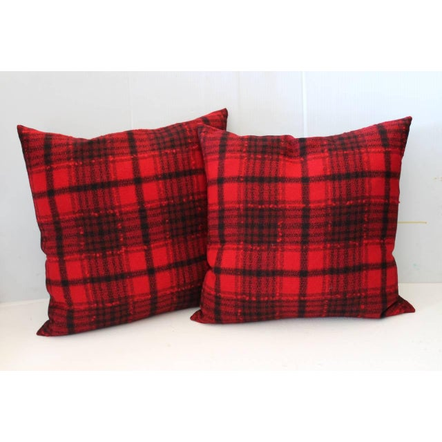 Fantastic black and red wool blanket pillows with a black cotton linen backing. The inserts are down and feather fill....