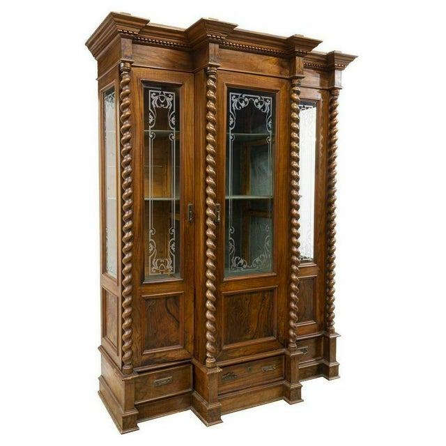19th Century 1800s Antique French Louis Philippe Twist Column Bookcase For Sale - Image 5 of 5
