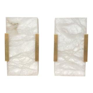 Visual Comfort Covet Wide Clip Bath Alabaster Wall Sconces - a Pair For Sale