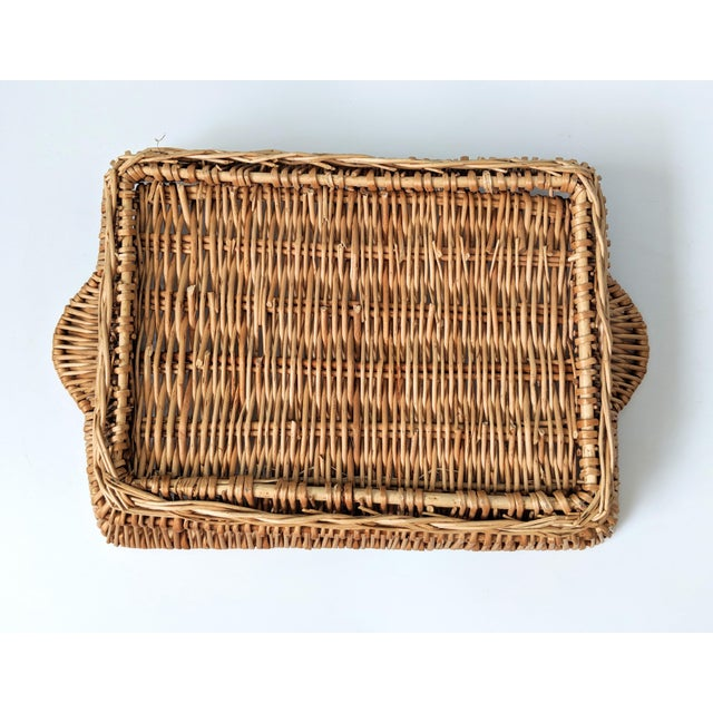 Wicker Vintage Boho Chic Wicker Tray Basket For Sale - Image 7 of 9