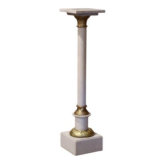 19th Century French Carved White Marble Pedestal Table With Brass Mounts For Sale