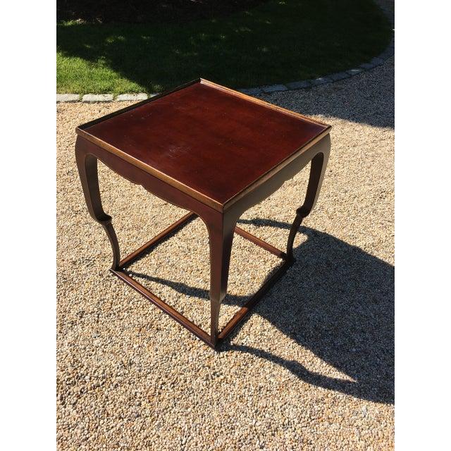 Piedouche Lacquer End Table with Grain De Café Gold Striping - Image 4 of 4