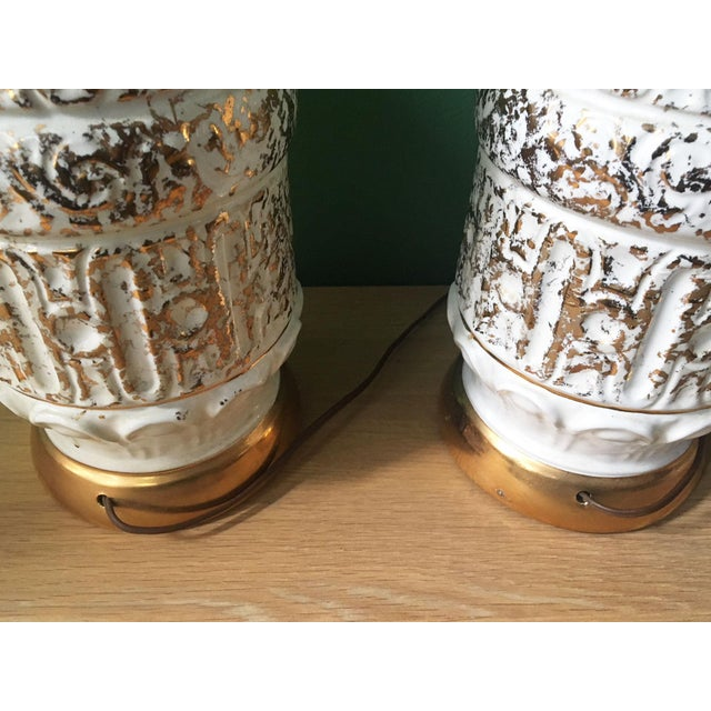 Vintage 1950s White and Gold Table Lamps - a Pair For Sale In New York - Image 6 of 10