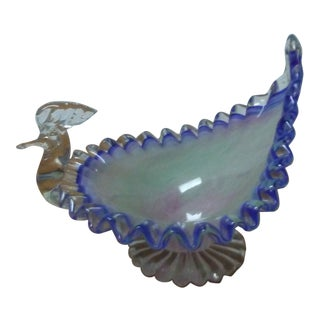 Hand Blown Glass Peacock Dish For Sale