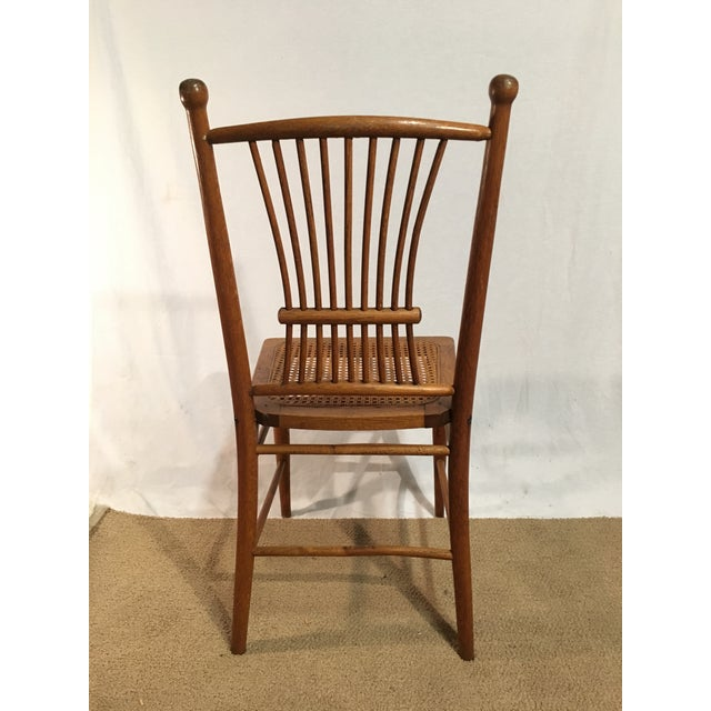 Antique American Spindle Back Caned Desk Chair - Image 2 of 4