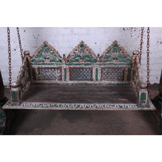 Wood 18th Century Ornate Carved Indian Jhula Bench Swing For Sale - Image 7 of 13