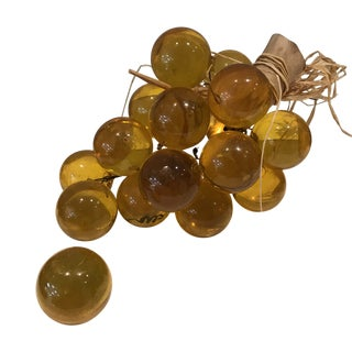 Midcentury Modern Yellow Lucite Grape Cluster on Driftwood For Sale